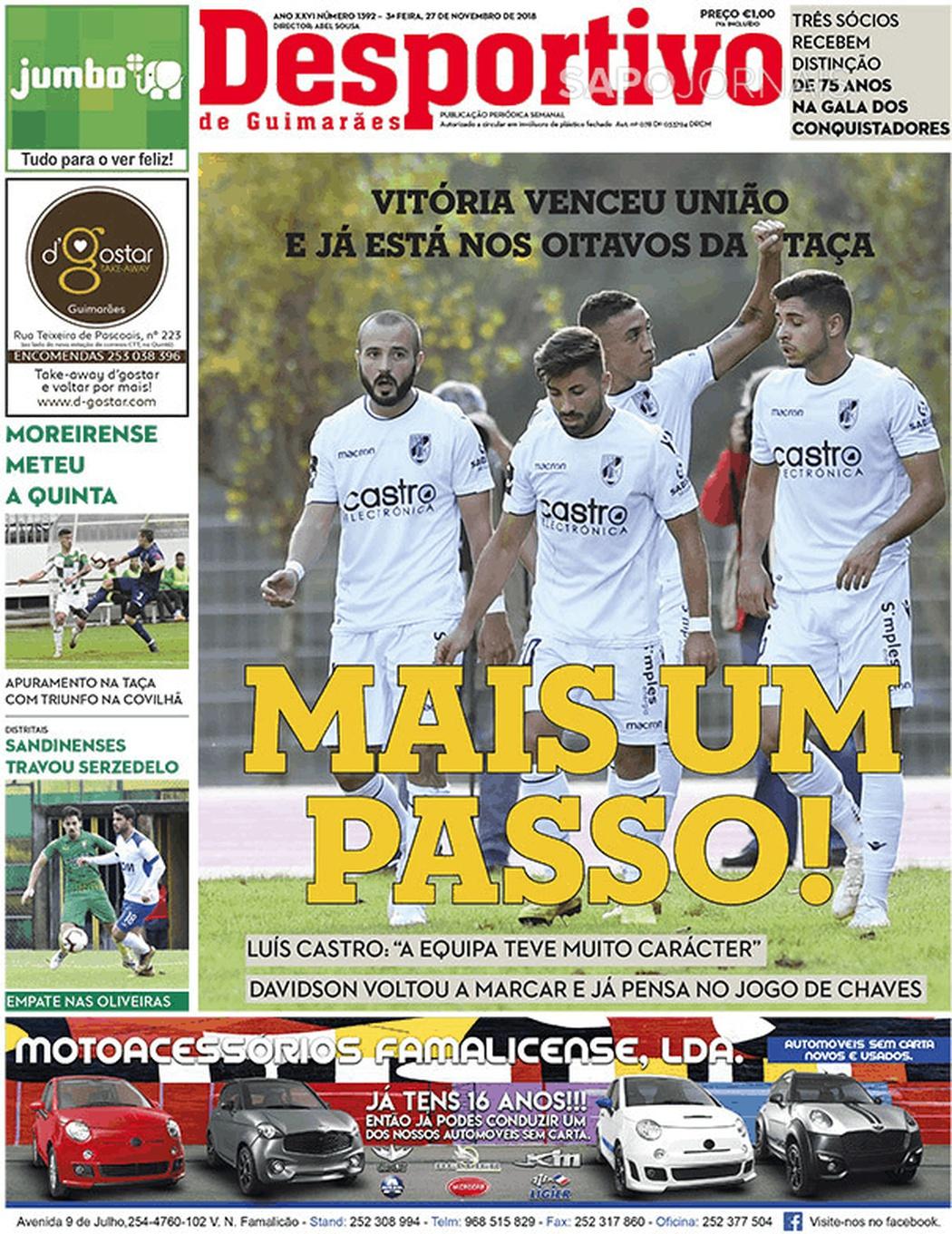 Banca De Jornais Desportivo De Guimarães 27 11 2018 Futebol 365