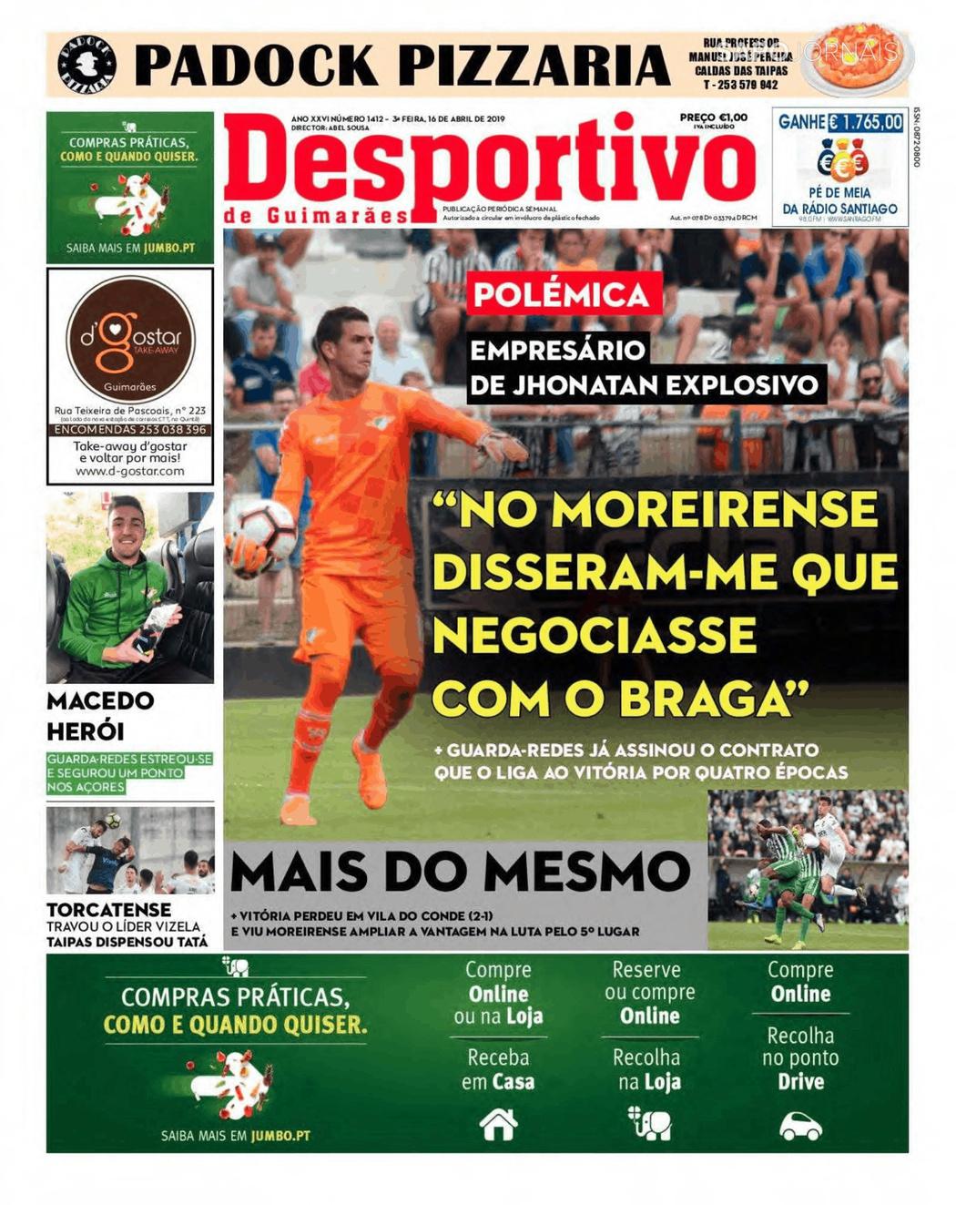 Banca De Jornais Desportivo De Guimarães 16 04 2019 Futebol 365