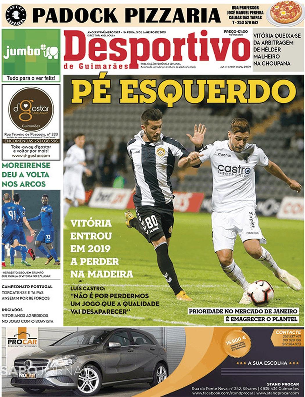 Banca De Jornais Desportivo De Guimarães 03 01 2019 Futebol 365