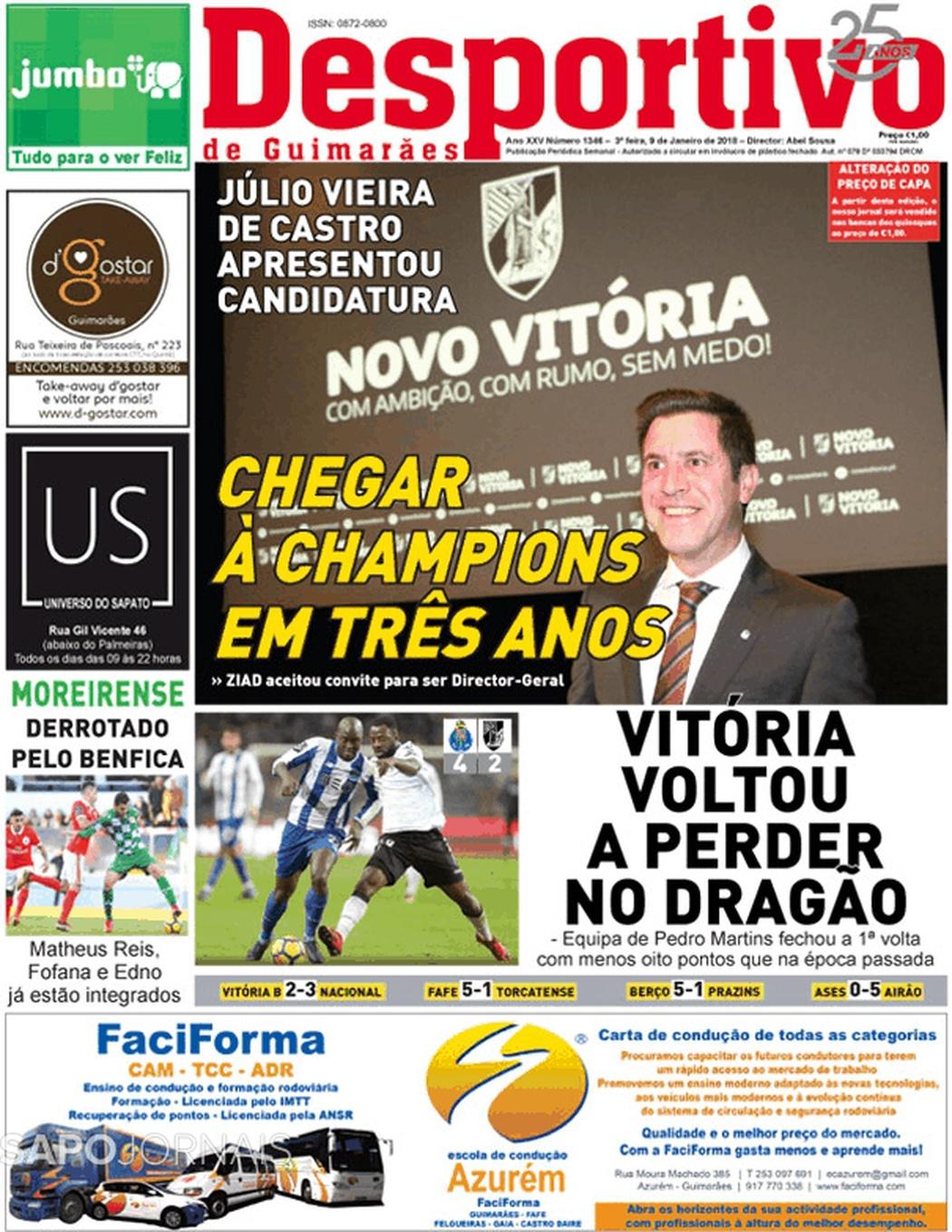Banca De Jornais Desportivo De Guimarães 09 01 2018 Futebol 365